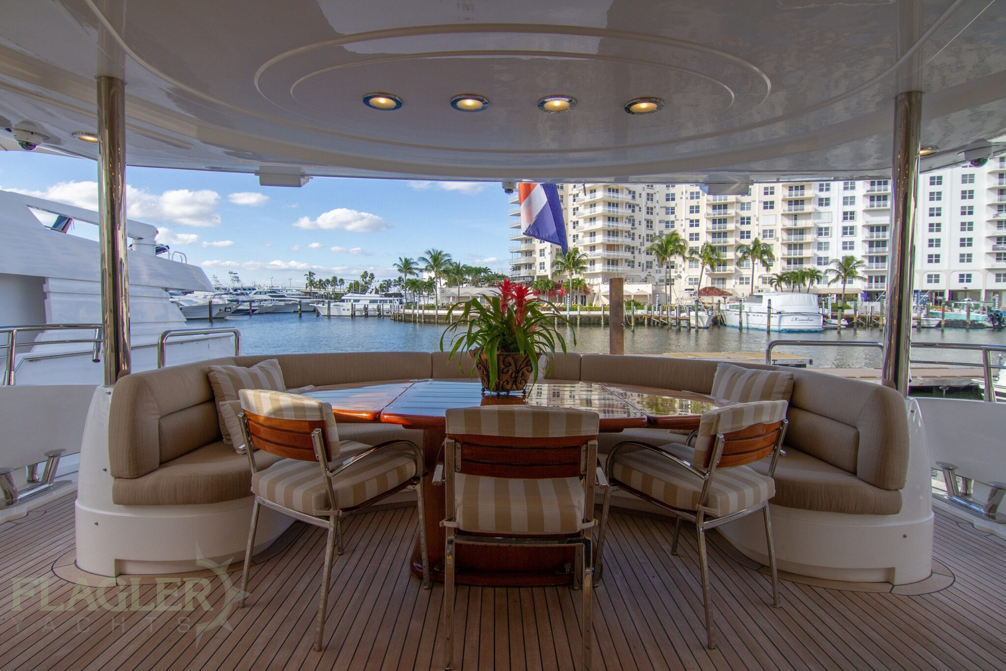 sunseeker 105 yacht for sale flagler yachts used yacht aft deck