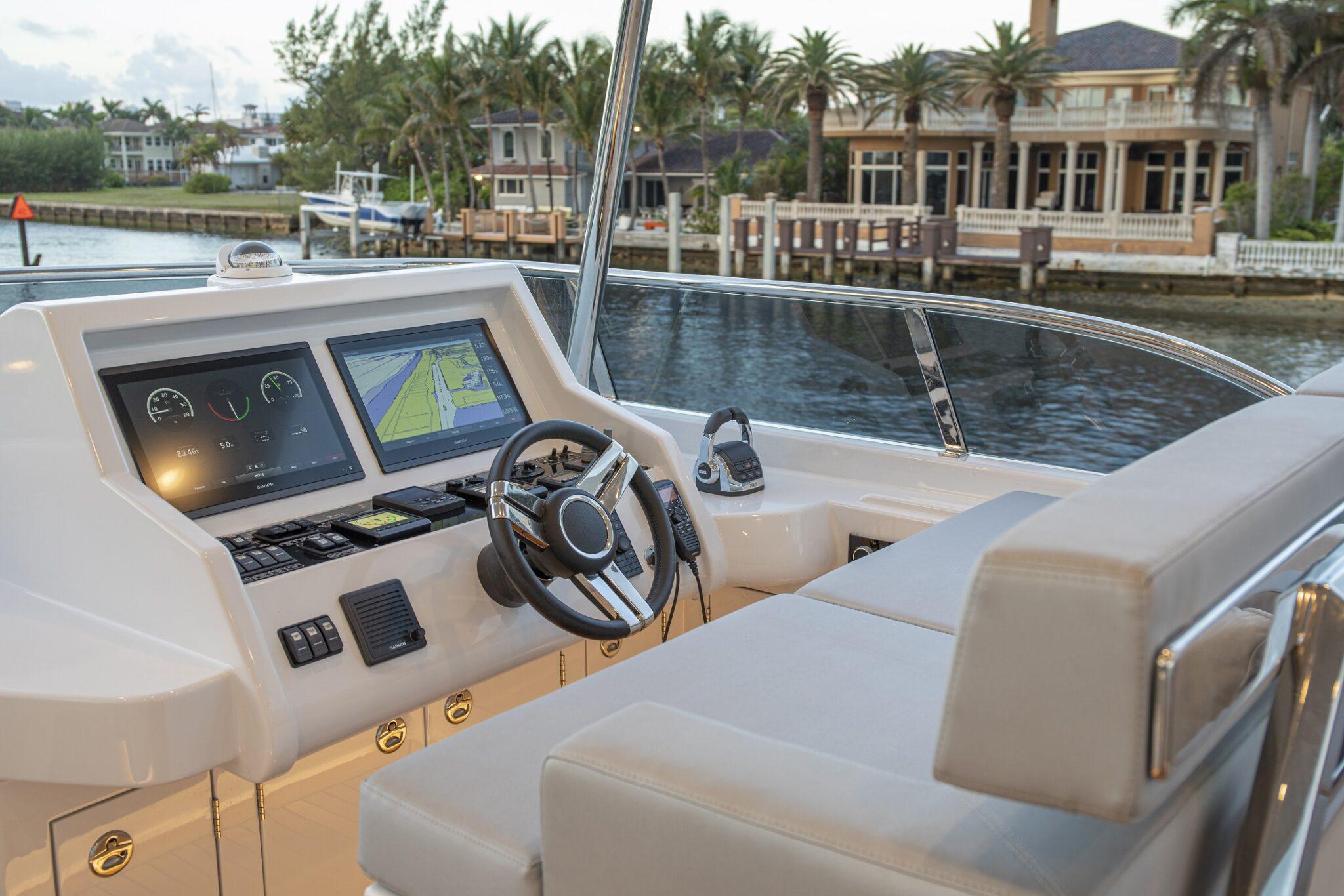 67 Vicem Cruiser for sale Flagler Yachts Flybridge Helm